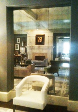antiqued mirror glass atlanta residential wall panel recessed